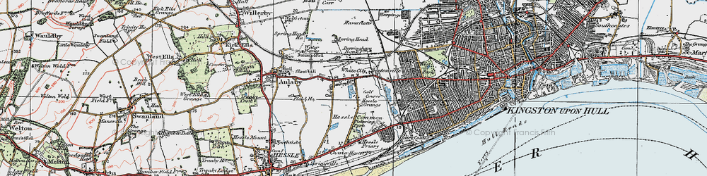 Old map of Anlaby Park in 1924