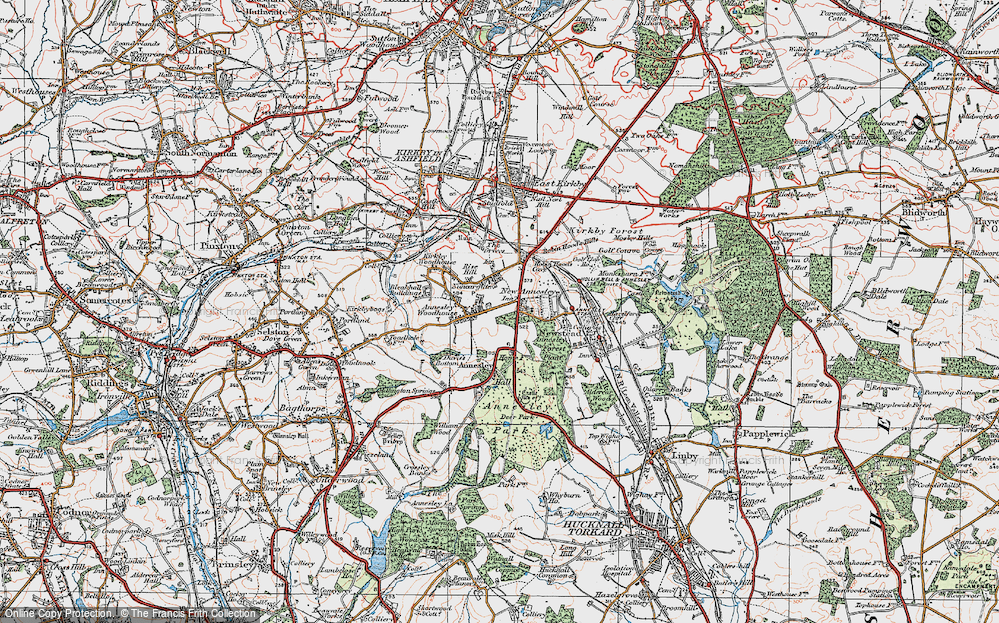 Old Map of Annesley, 1921 in 1921