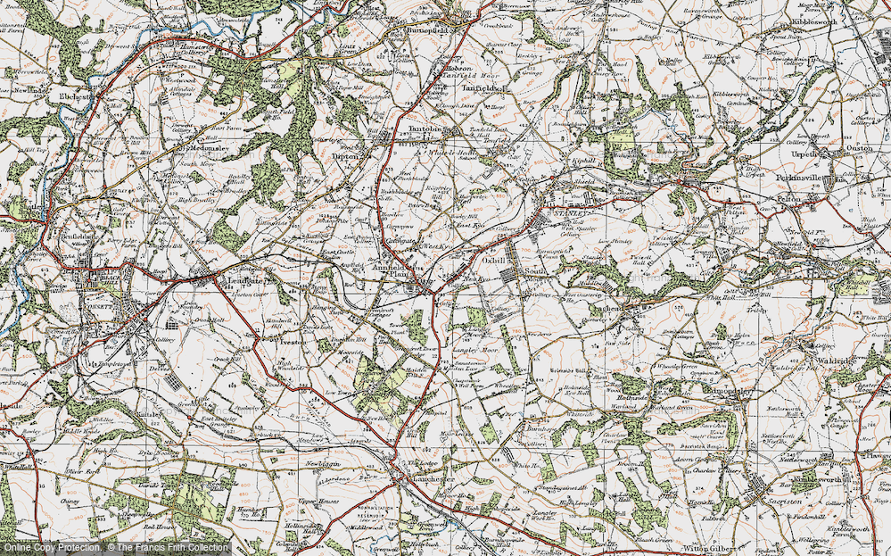 Old Map of Annfield Plain, 1925 in 1925
