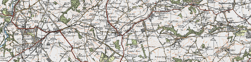 Old map of Annfield Plain in 1925