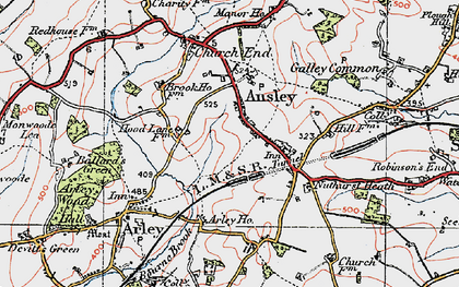 Old map of Ansley in 1920