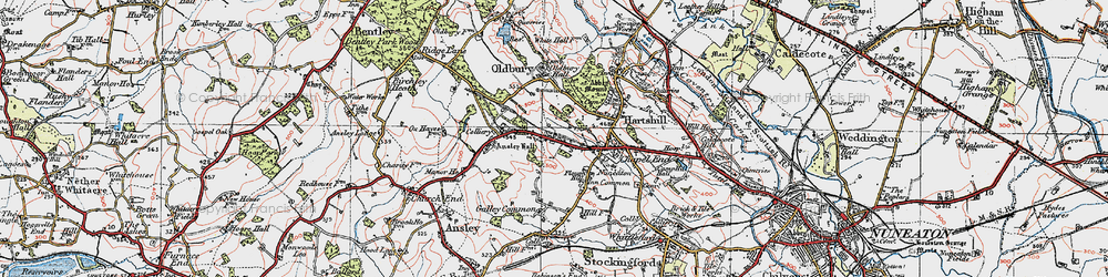 Old map of Ansley Common in 1920