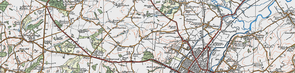 Old map of Anslow in 1921