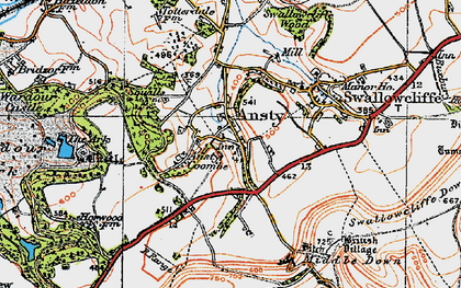 Old map of Ansty in 1919