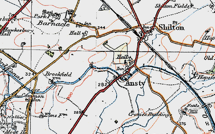 Old map of Ansty in 1920