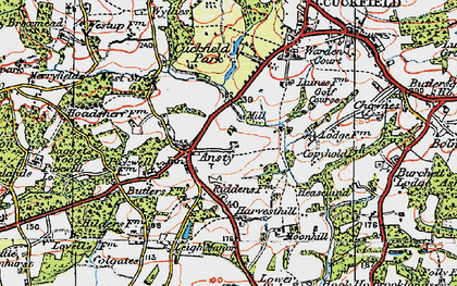 Old map of West Riddens in 1920
