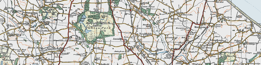 Old map of Antingham Hall in 1922