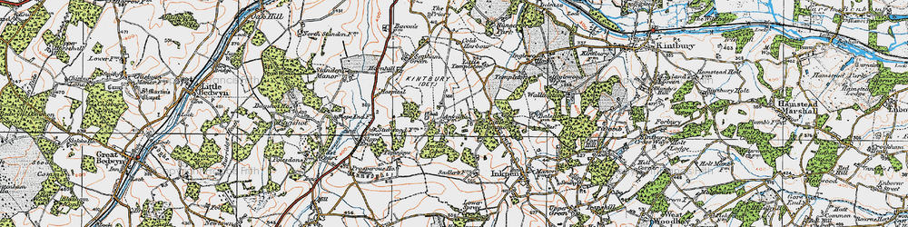 Old map of Anvilles in 1919