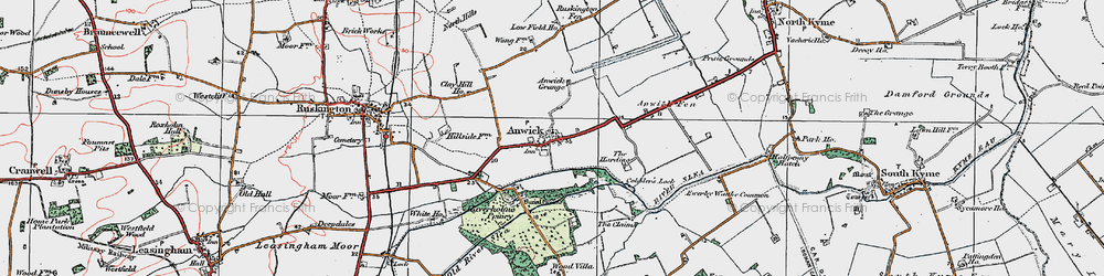 Old map of Anwick in 1922