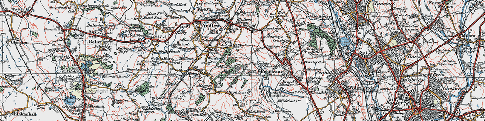 Old map of Apedale in 1921
