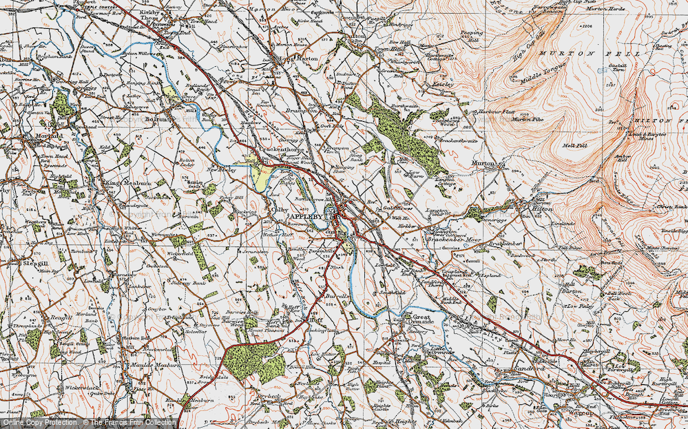 Old Map of Historic Map covering Bandley Wood in 1925