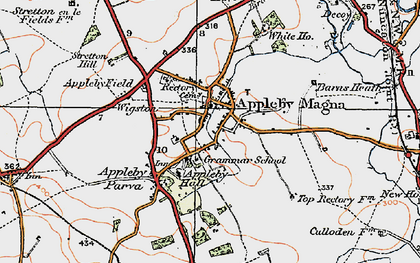 Old map of Appleby Magna in 1921