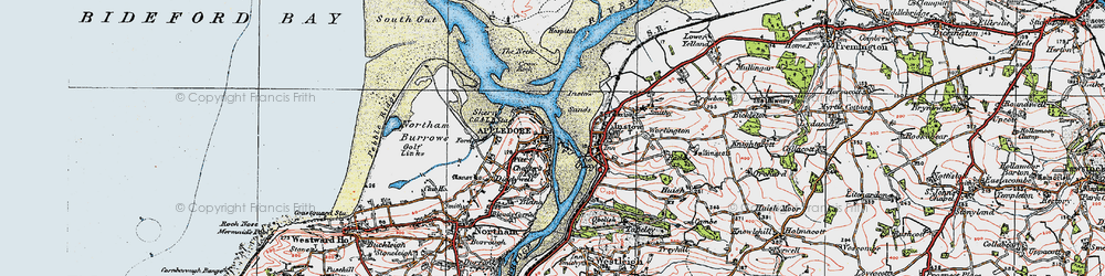 Old map of Appledore in 1919