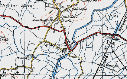 Old map of Appledore in 1921