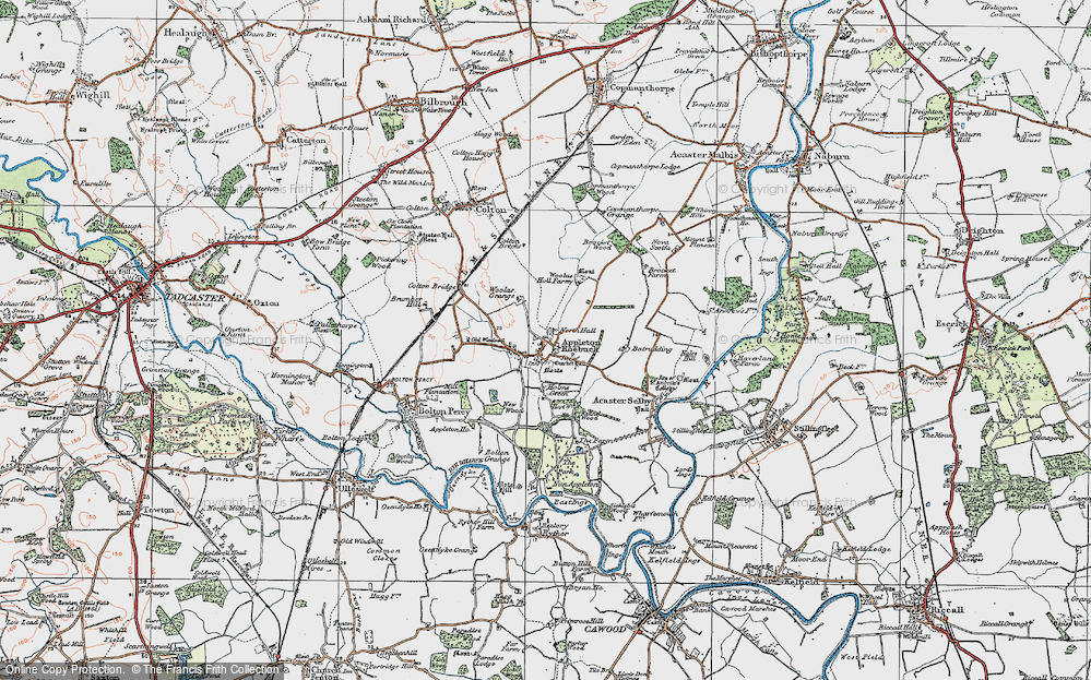 Old Map of Historic Map covering Woolas Grange in 1924