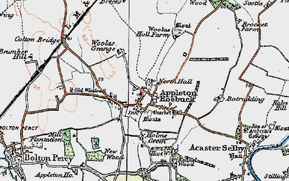 Old map of Appleton Roebuck in 1924