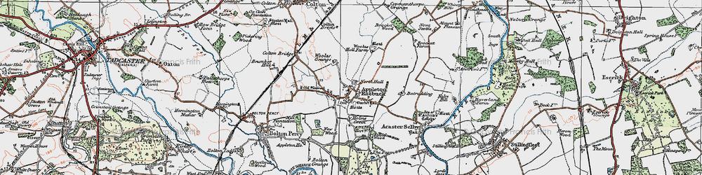 Old map of Appleton Roebuck in 1924
