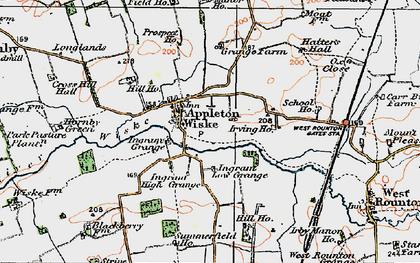 Old map of Appleton Wiske in 1925