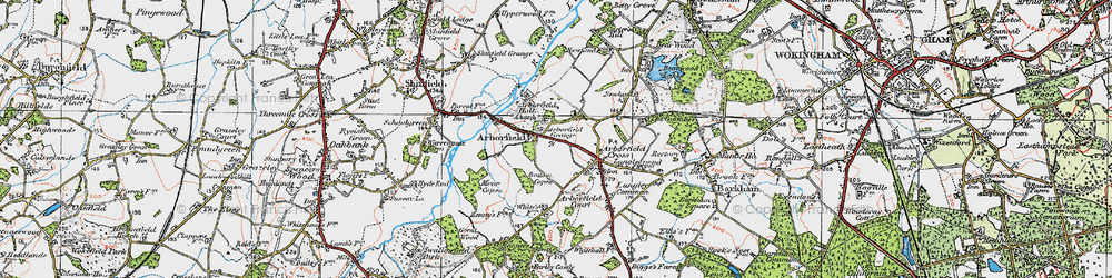 Old map of Arborfield in 1919