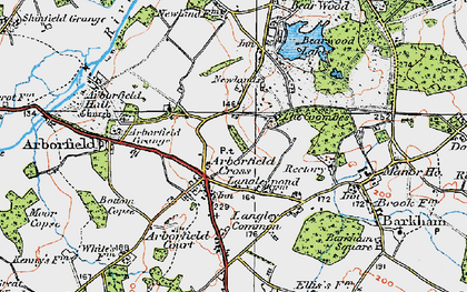 Old map of Arborfield Cross in 1919