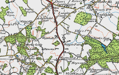 Old map of Arborfield Garrison in 1919