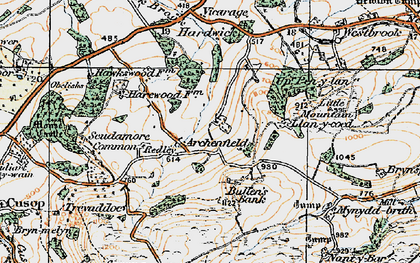 Old map of Archenfield in 1919