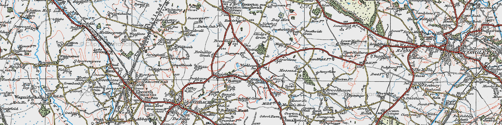 Old map of Arclid in 1923