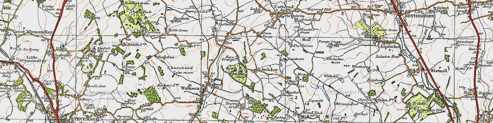 Old map of Ardeley Bury in 1919