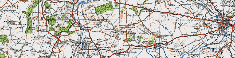 Old map of Ardens Grafton in 1919