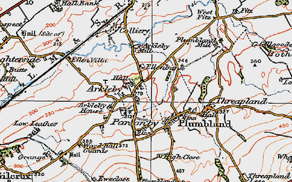 Old map of Arkleby in 1925