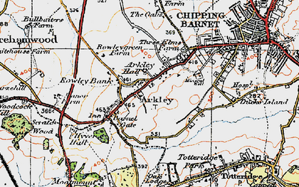 Old map of Arkley in 1920