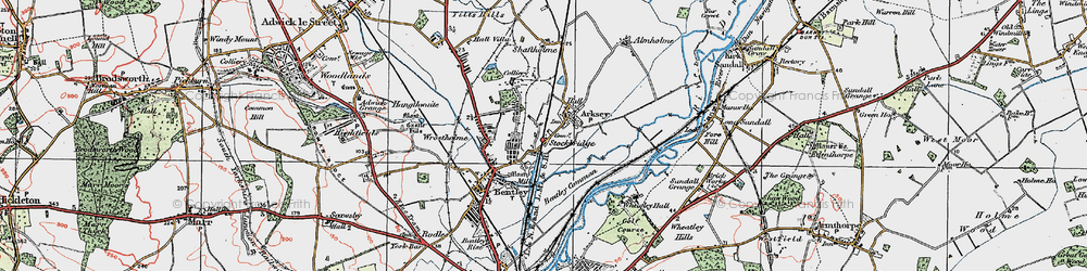 Old map of Arksey in 1923