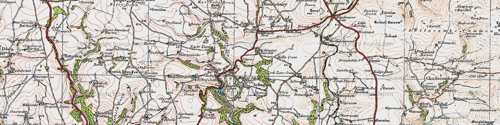 Old map of Arlington Beccott in 1919