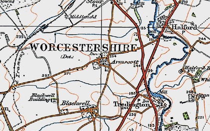 Old map of Armscote in 1919