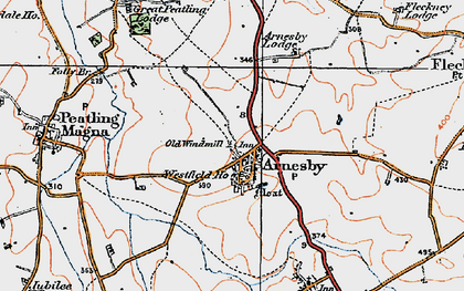 Old map of Arnesby in 1920