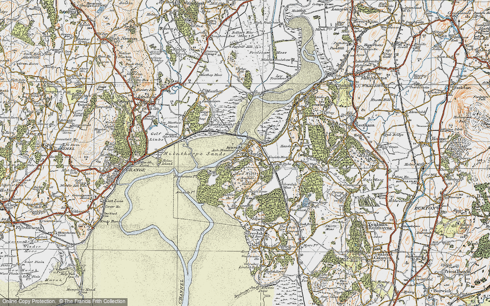 Old Map of Historic Map covering Ash Meadow in 1925