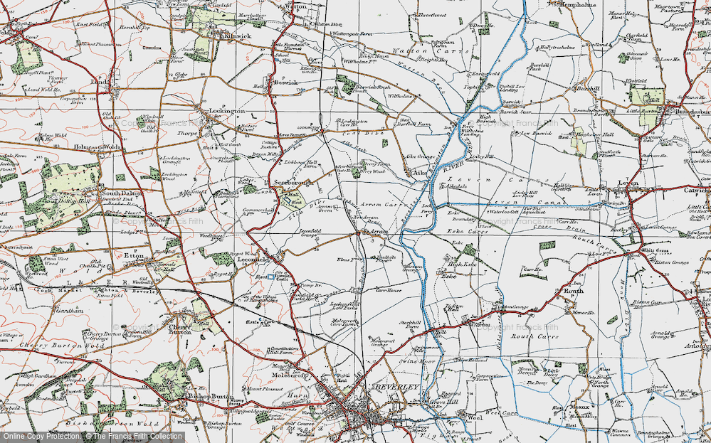 Old Map of Historic Map covering Leconfield Low Parks in 1924