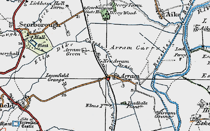 Old map of Arram in 1924