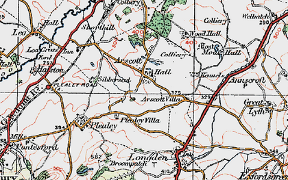 Old map of Arscott in 1921