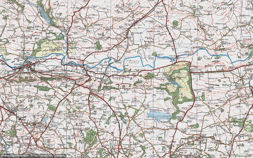 Old Map of Historic Map covering Arthington Bank in 1925