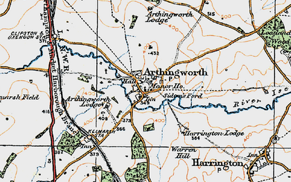 Old map of Arthingworth Lodge in 1920