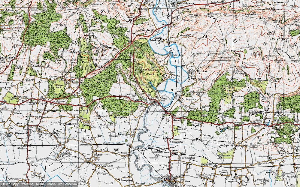 Old Map of Historic Map covering Arundel Park in 1920