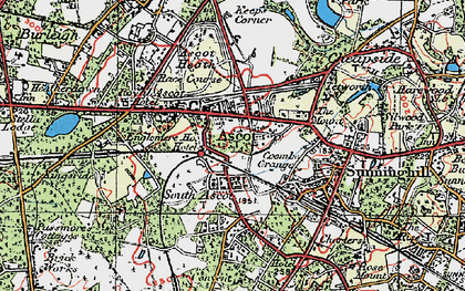 Old map of Ascot in 1920