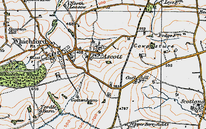 Old map of Ascott in 1919