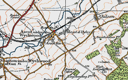 Old map of Ascott d' Oyley in 1919