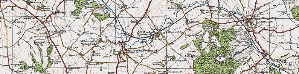 Old map of Ascott Earl in 1919
