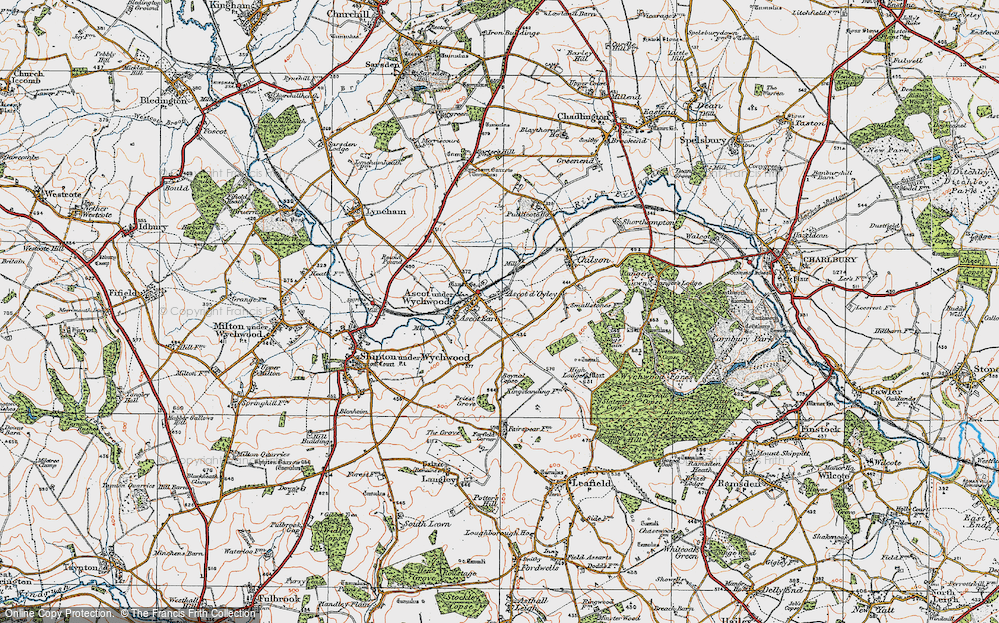 Old Map of Ascott-under-Wychwood, 1919 in 1919