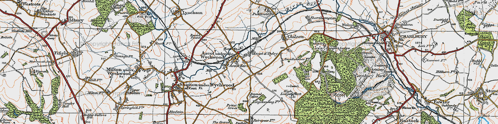 Old map of Ascott-under-Wychwood in 1919