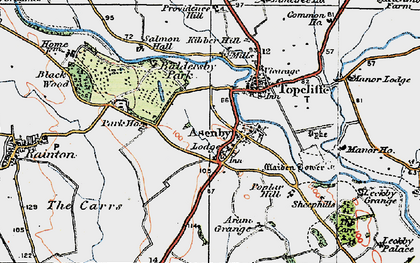 Old map of Asenby in 1925