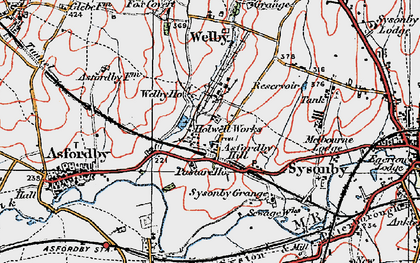 Old map of Asfordby Hill in 1921